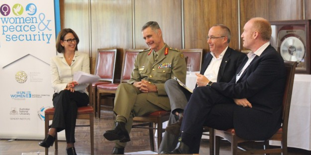 Virginia Haussegger, MAJGEN Shane Caughy (ADF), James Bately (ANU), Archie Law (ActionAid)